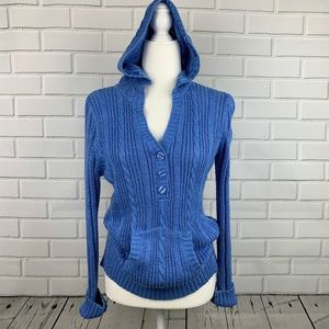 JUSTICE Girls Blue Cable-Knit Hooded Sweater 18